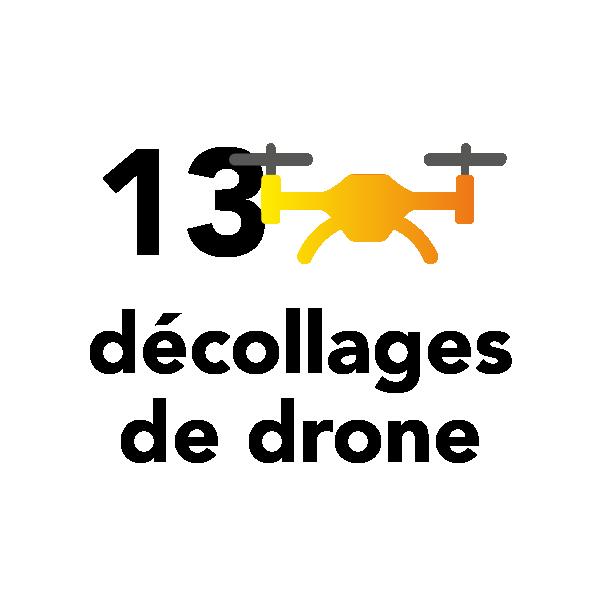 13 décollages de drone