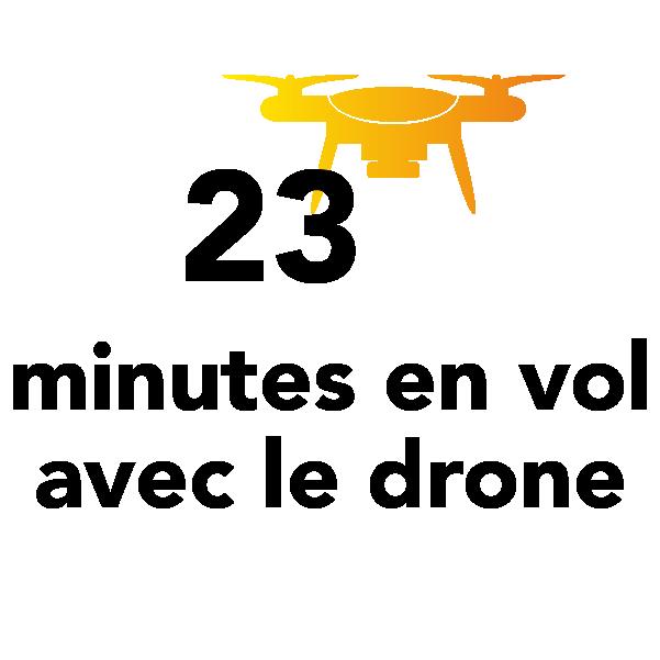 23 minutes en vol avec le drone