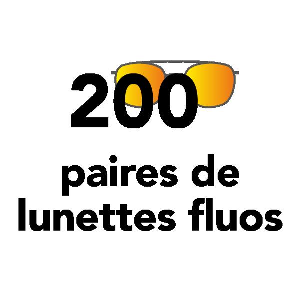 200 paires de lunettes fluos