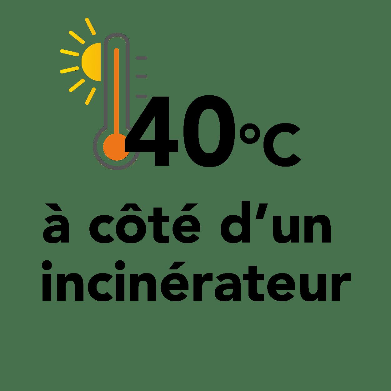 40 degrés à côté d'un incinérateur
