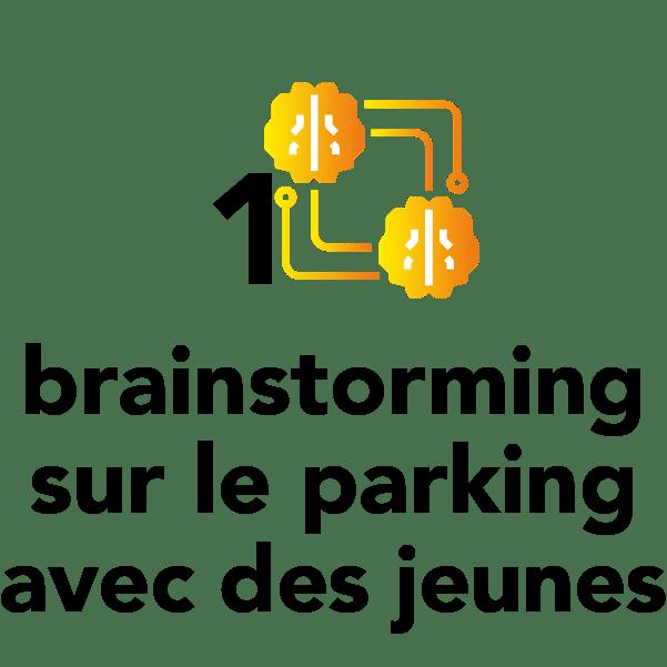 1 brainstorming sur le parking avec des jeunes