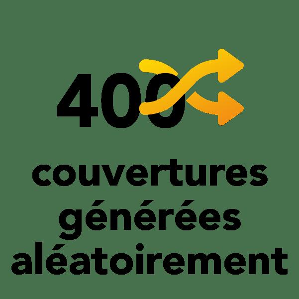 400 couvertures générées aléatoirement